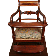 Exquisite Chippendale-Late Georgian-Napoleonic Transition Period High Chair C. 1798-1805 of Mahogany For Spectacular Antique Doll Display