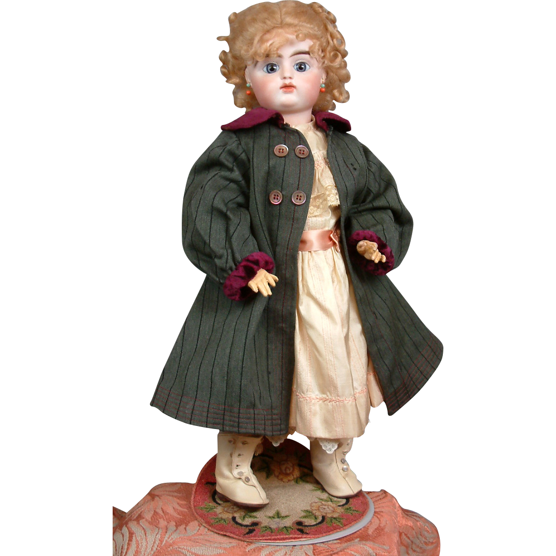 Gorgeous & Top-Quality 1910s Antique Olive Wool Overcoat For the Finest Bisque Doll!