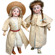 Fabulous Pair of Antique Walking Coats For Your Prime Bisque Dolls! - Red Tag Sale Item