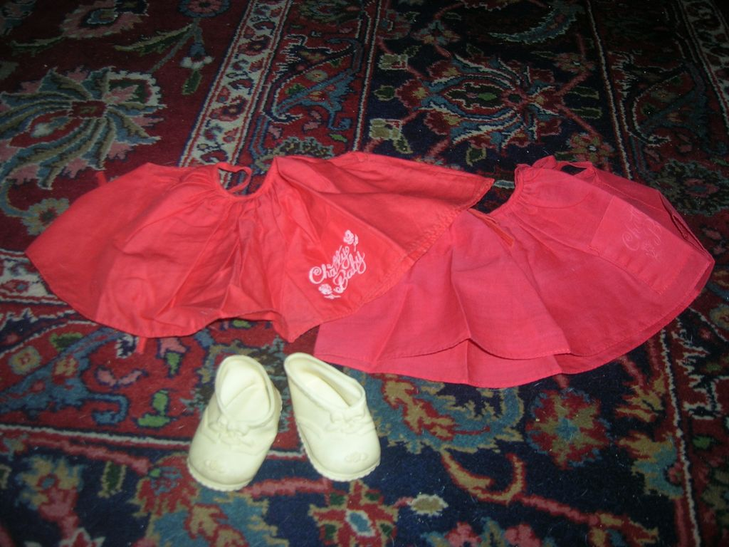 Vintage Original Mattel Chatty Baby Red Jumpers & Shoe Lot!