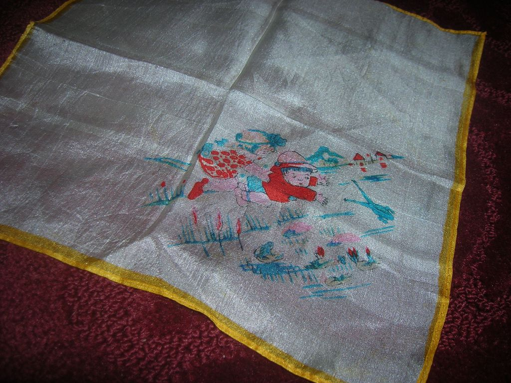 Vintage Child's Hanky Decorated with Adorable Little Children