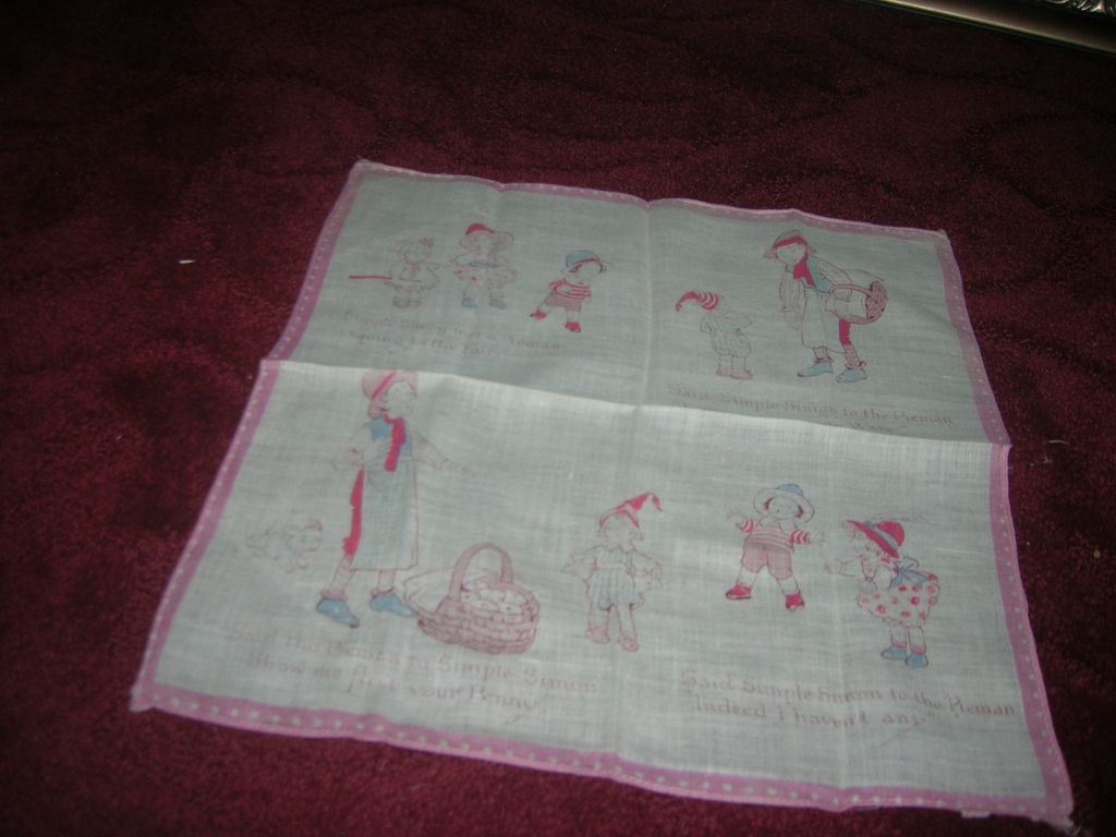 Vintage Drayon-Like Nursery Rhyme Child's Hanky