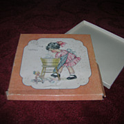 Vintage Child's Hanky Box with a Sweet Little Girl on Cover