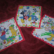 """Set of 3 Vintage Disney Child's Hankies Decorated with """"Disney Characters"""""""