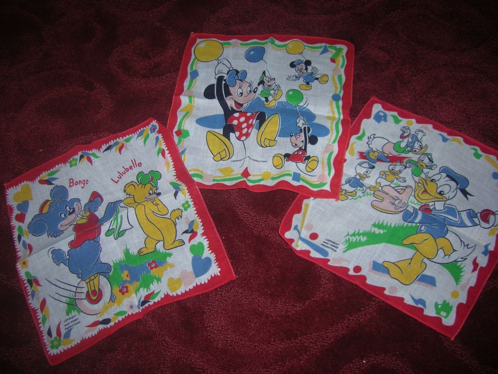 "Set of 3 Vintage Disney Child's Hankies Decorated with ""Disney Characters"""