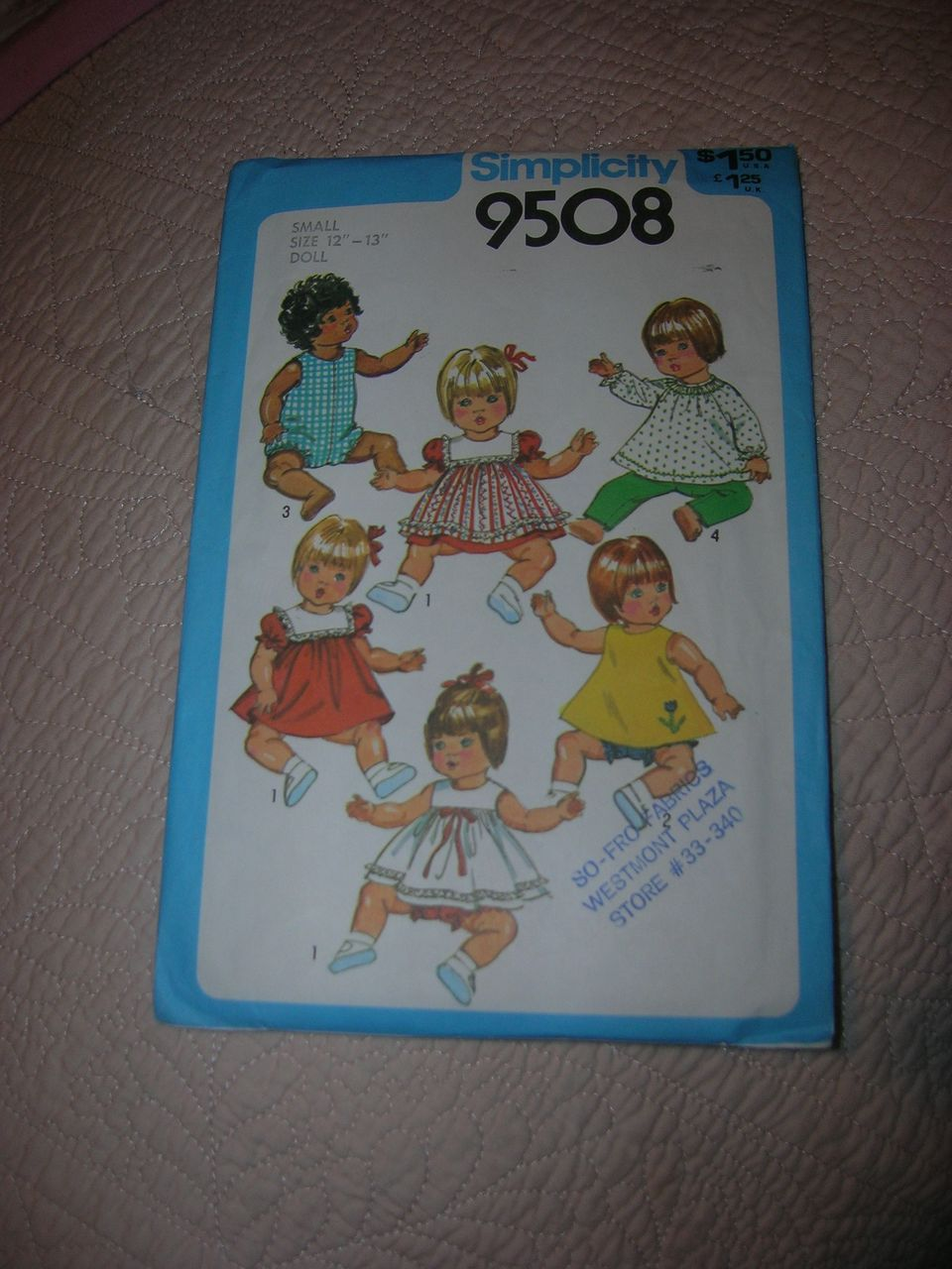 """Simplicity Pattern #9508 for Baby & Toddler 12""""-13"""" Dolls."""
