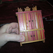 Vintage Ornate Miniature Doll House Step Back Cupboard with Sliding Doors - Red Tag Sale Item