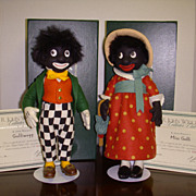 "MIB R John Wright ""Golliwogg & Miss Golli"" Pair from ""R John Wright Collector's Club"" Series Dolls!"