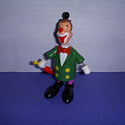 "Vintage Wooden Toy Nodder Clown Figure by ""Goula"" Made in Spain!"