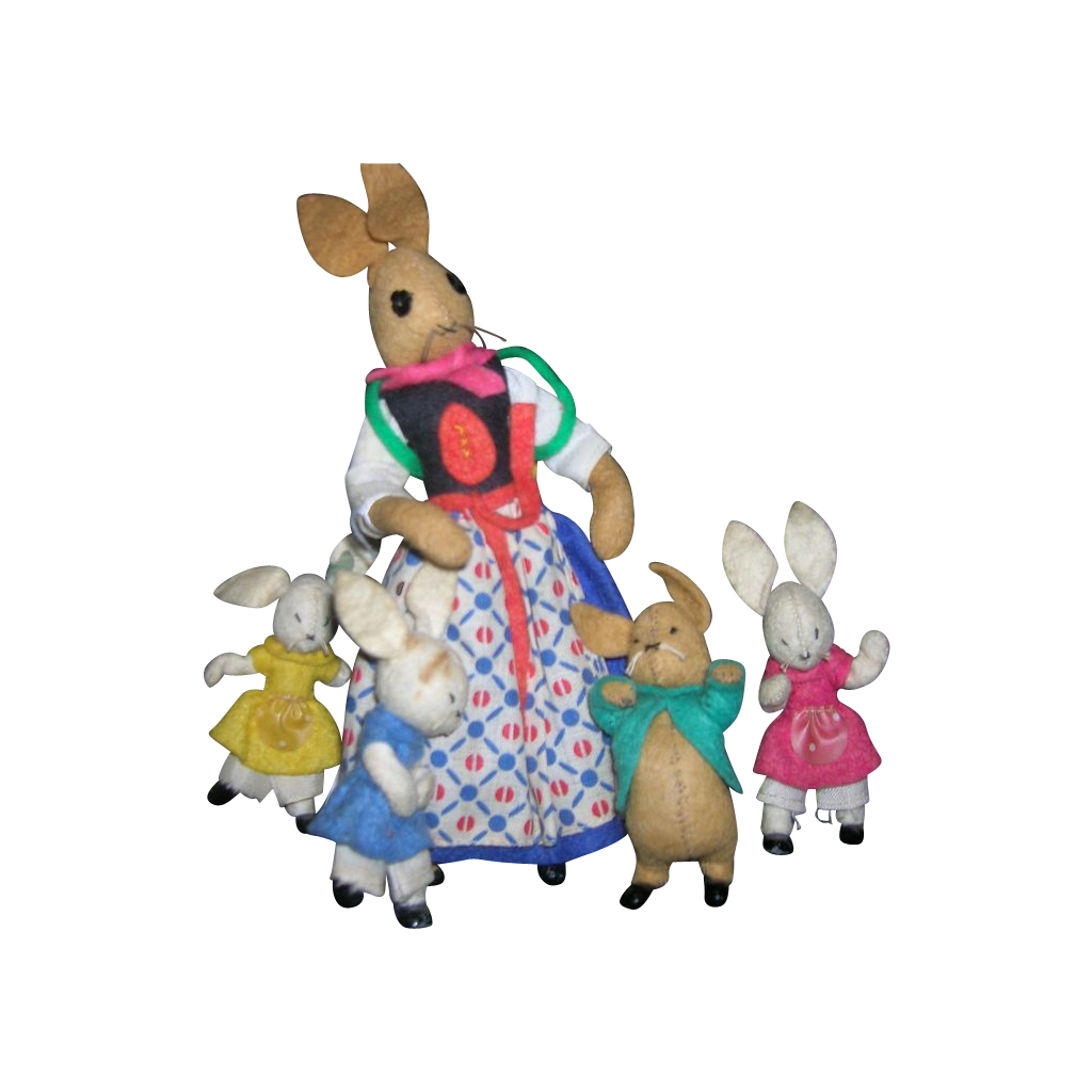 Vintage German BAPS Dolls of Peter Rabbit and Family of 5