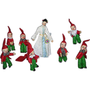 Vintage German BAPS Dolls of Snow White and the 7 Dwarfs set of 8