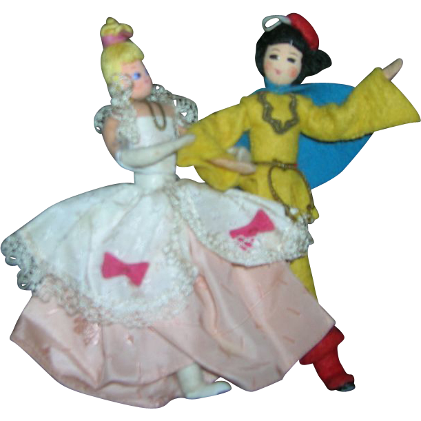 Vintage German BAPS Dolls of Cinderella and Prince Charming Set