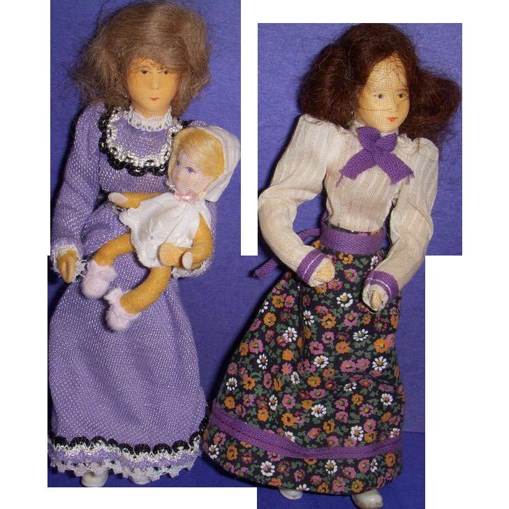 Vintage Trio of Erna Meyer German Dollhouse Dolls!
