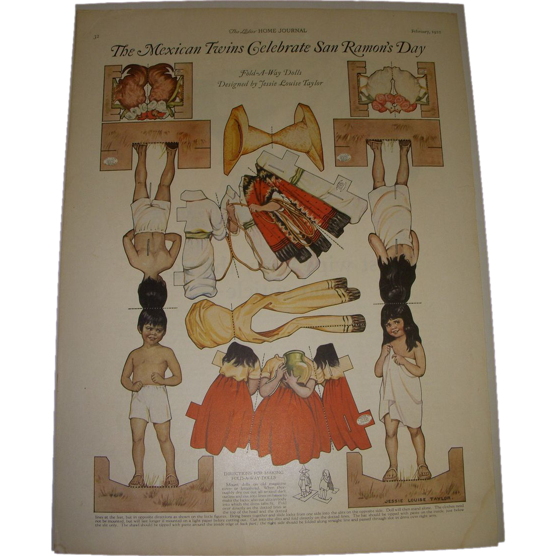 "1922 Vintage Paper Doll Sheet ""The Mexican Twins Celebrate San Ramon's Day"" Uncut!"