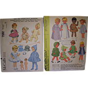 """2 McCall's Vintage Patterns for Betsy Wetsy, Tiny Tears, Other Baby & Toddler 8 1/2""""- 10"""" Dolls."""