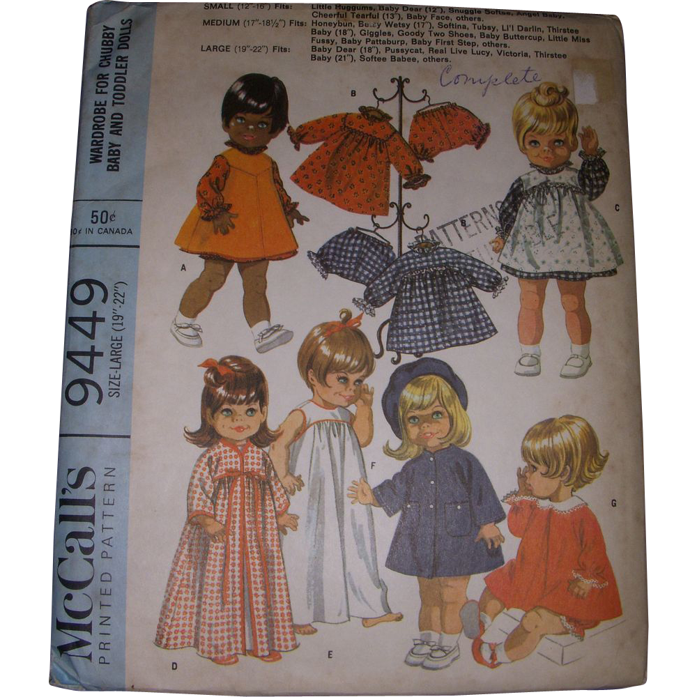 "McCall's Vintage Pattern for Pussycat, Baby Dear & Other 19""- 22"" Dolls."