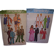 2 Vintage Doll Patterns for Barbie & Ken Matching Fashion!