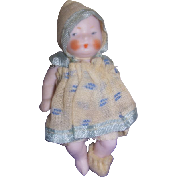 "Vintage German All Bisque Pink ""Candy"" Baby in Original Outfit"