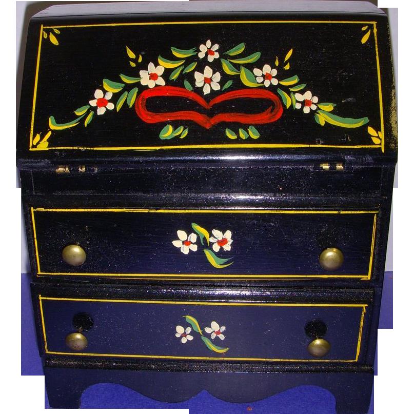 HTF Vintage Black Lacquered Wood Doll Drop Leaf Desk!
