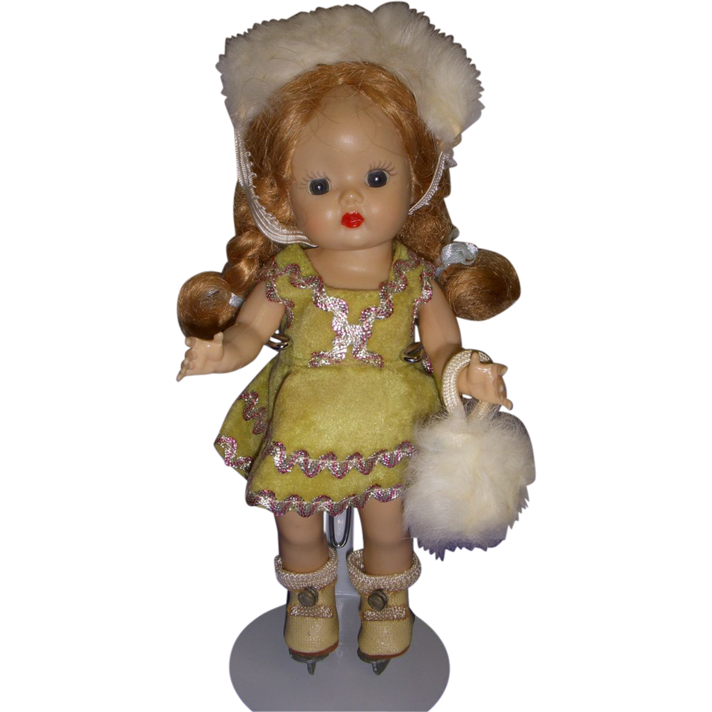 Vintage 1950s Muffie Ice Skater Doll All Original!
