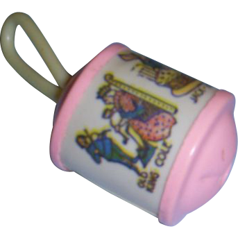 "Vintage Celluloid Small Baby Doll Rattle with ""Nursery Rhymes""!"
