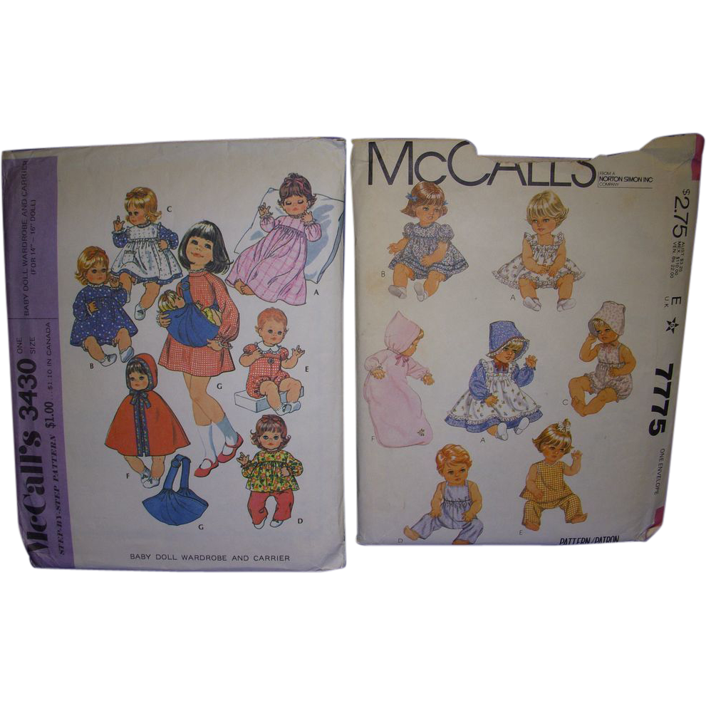 "2 McCall's Vintage Patterns for Baby Dolls & Toddler 14""- 17"" Dolls."