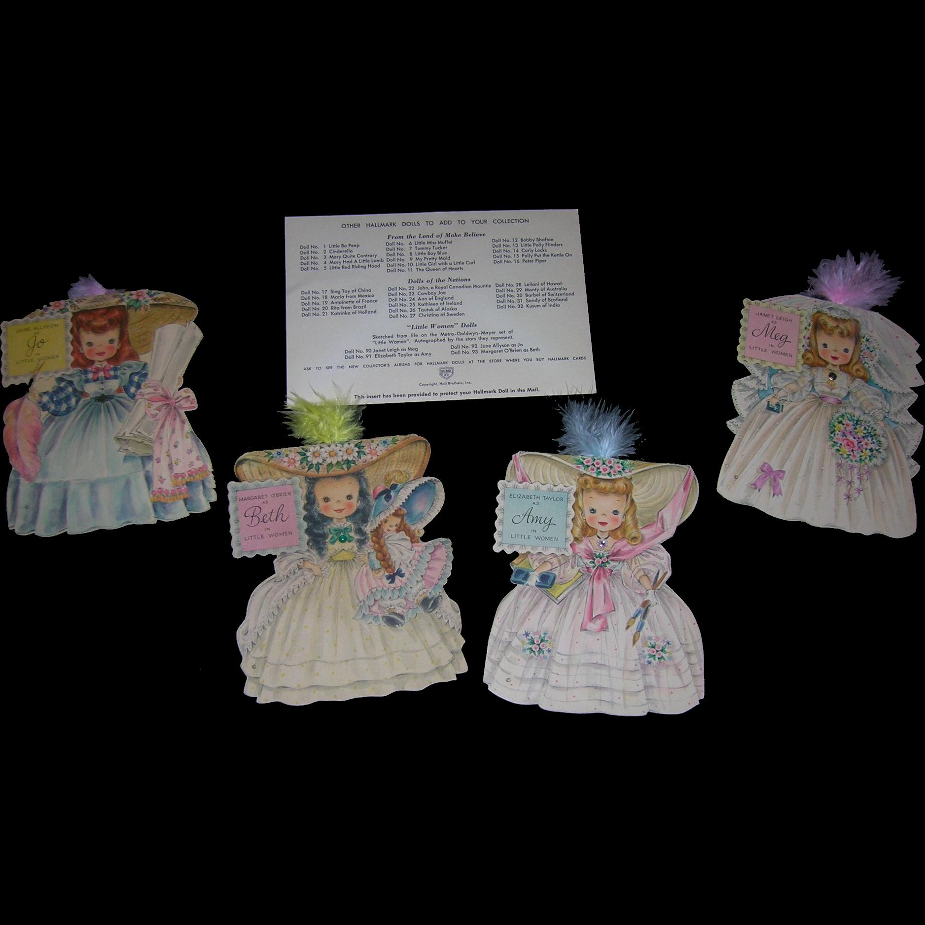 Vintage Htf Hallmark 1940 39 S Little Women Doll Card Group