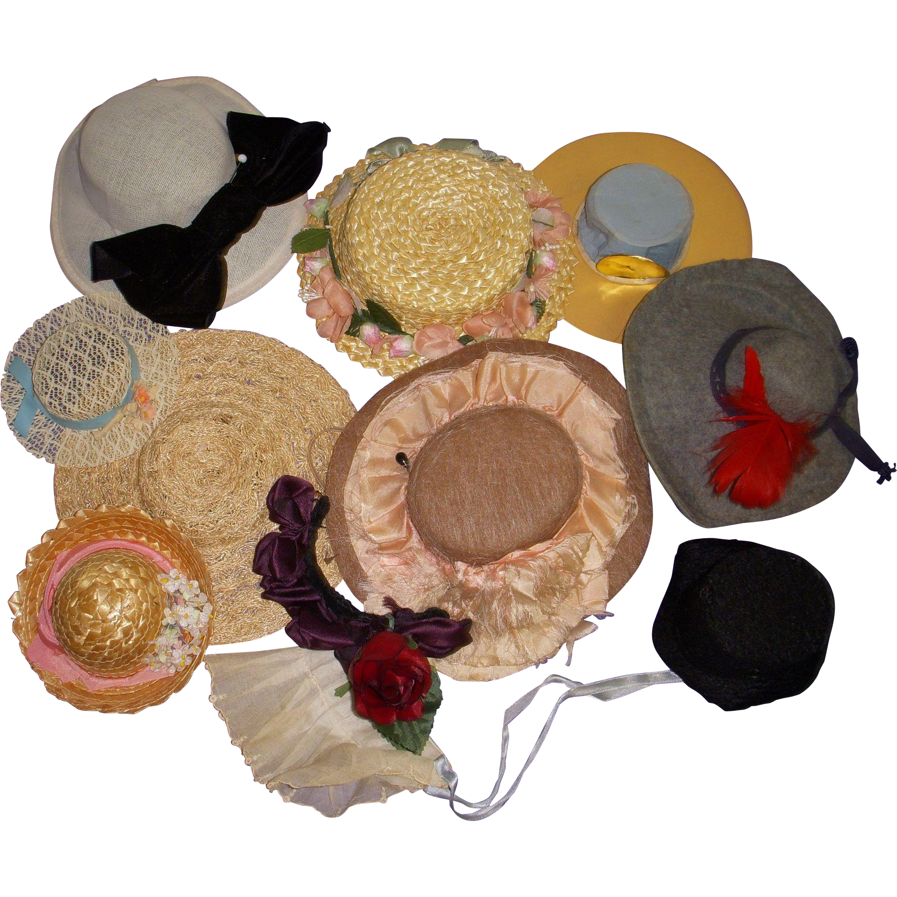 Vintage Doll Hats Lot of 11!
