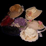 Vintage Doll Hats for Large Dolls! Lot of 6!