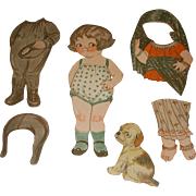 """1928 Vintage Dolly Dingle Paper Doll Set """"Trip To Persia"""" by Drayton"""