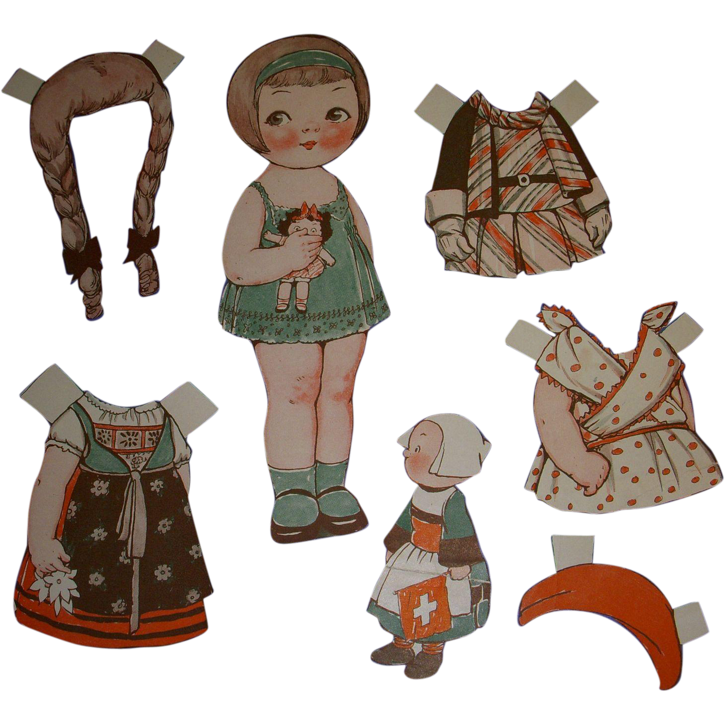 "1932 Vintage Dolly Dingle Paper Doll Set ""World of Flight in Switzerland"" by Drayton"
