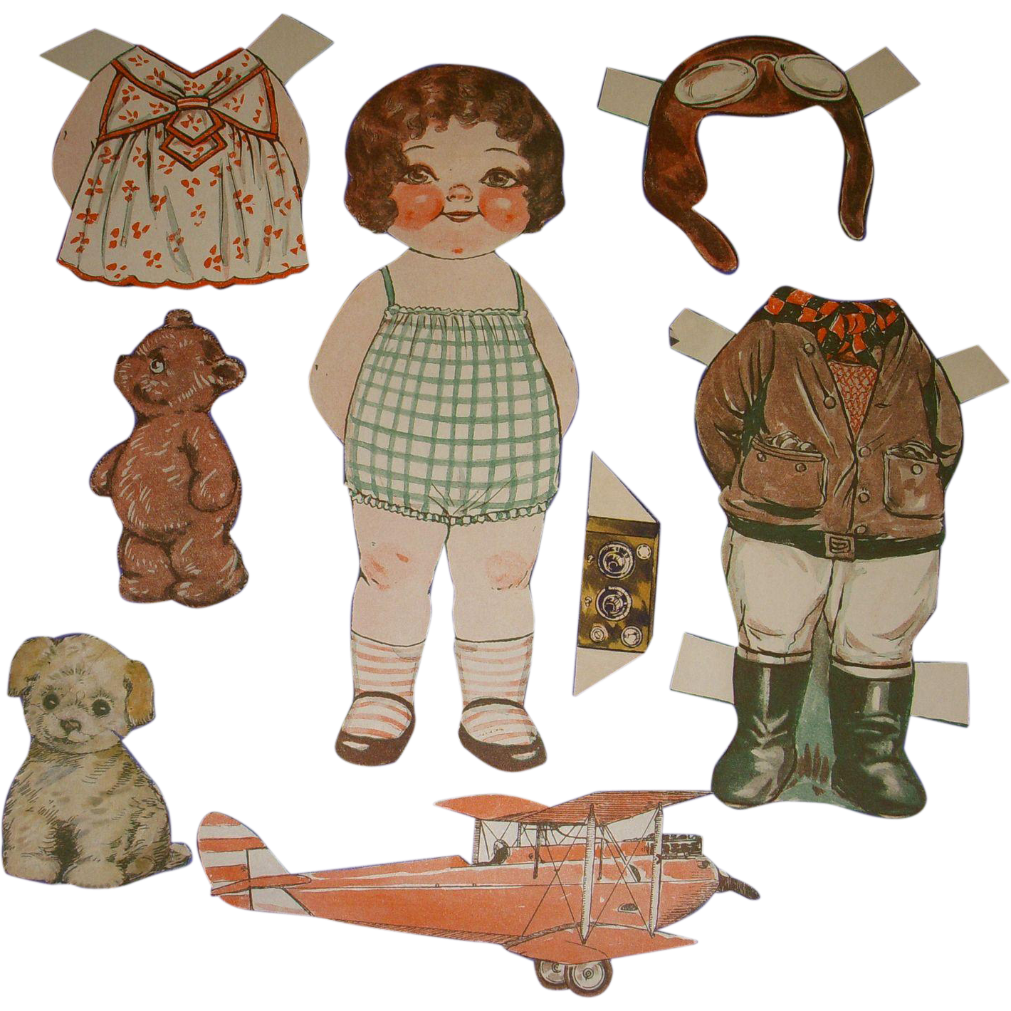 "1932 Vintage Dolly Dingle Paper Doll Set ""World of Flight"" by Drayton"