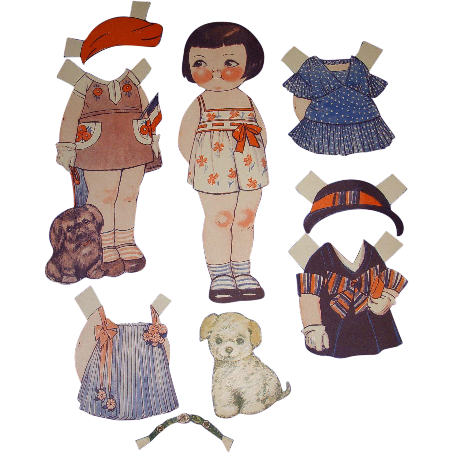 "1932 Vintage Dolly Dingle Paper Doll Set ""World of Flight in France"" by Drayton"