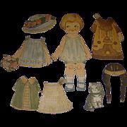 "1924 Vintage Dolly Dingle Paper Doll Set ""Little Friend"" by Drayton"