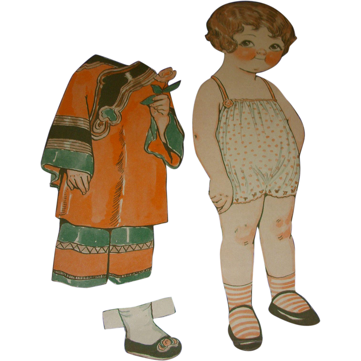 "1928 Vintage Dolly Dingle Paper Doll Set ""Trip To China"" by Drayton"