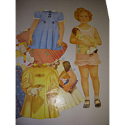 "Vintage Large Paper Doll ""Shirley Temple Doll and Clothes"""