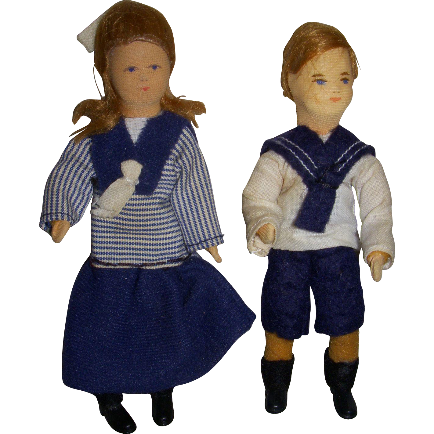 Vintage Pair of Erna Meyer German Dollhouse Dolls