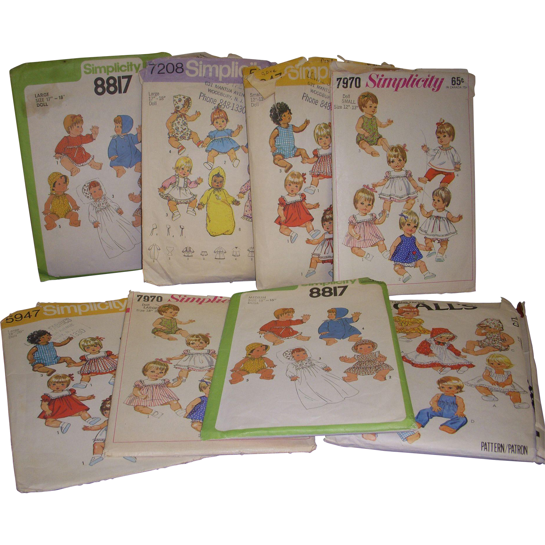 "8 Simplicity Vintage Doll Patterns for Baby Dolls & Toddler Dolls 12""- 20"" Dolls"