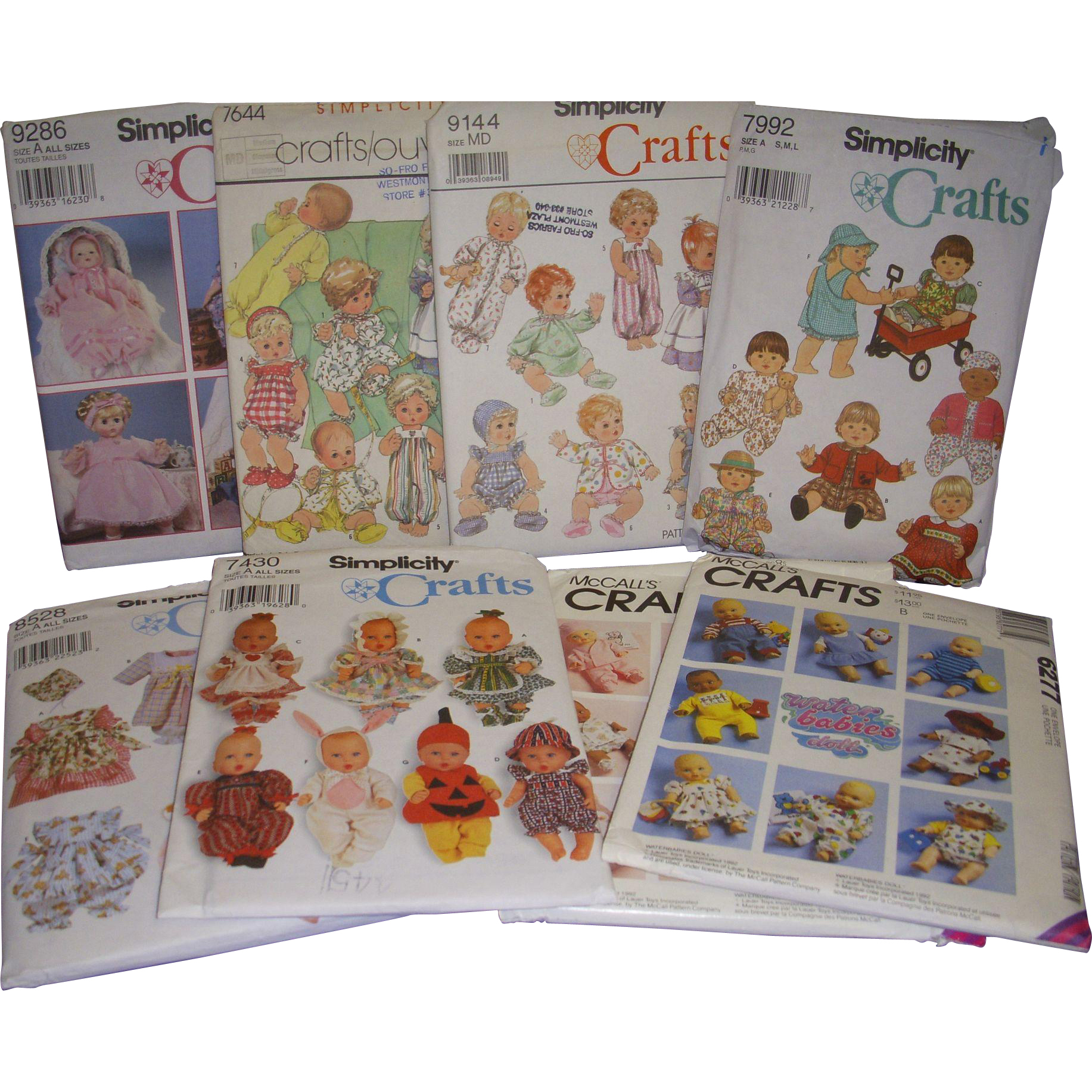 Lot of 8 Simplicity Doll Clothes Patterns
