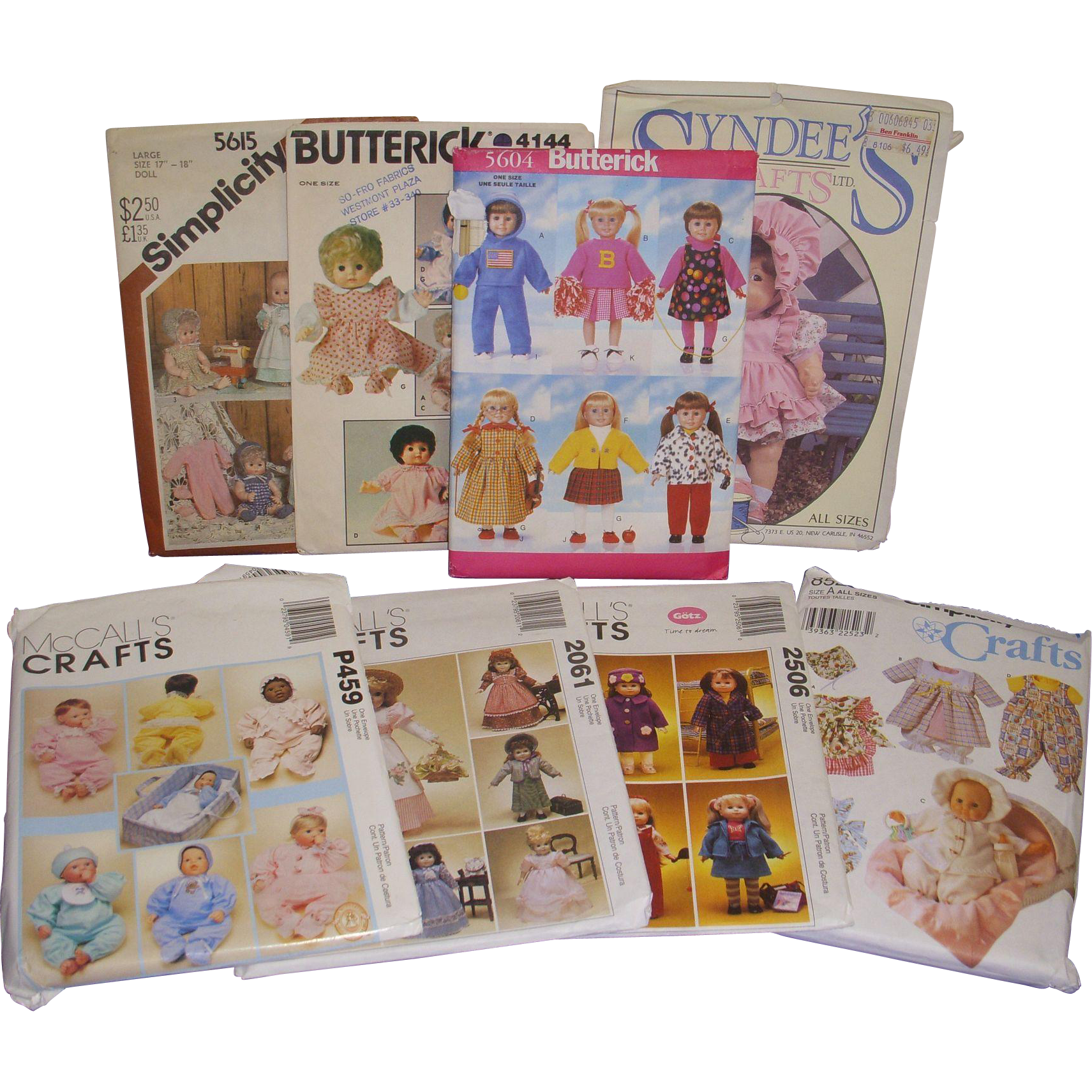 Lot of 8 Vintage Doll Clothes Patterns