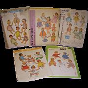 "Lot of 5 Vintage Doll Patterns for Baby Dolls & Toddler Dolls 12""- 16"" Dolls"
