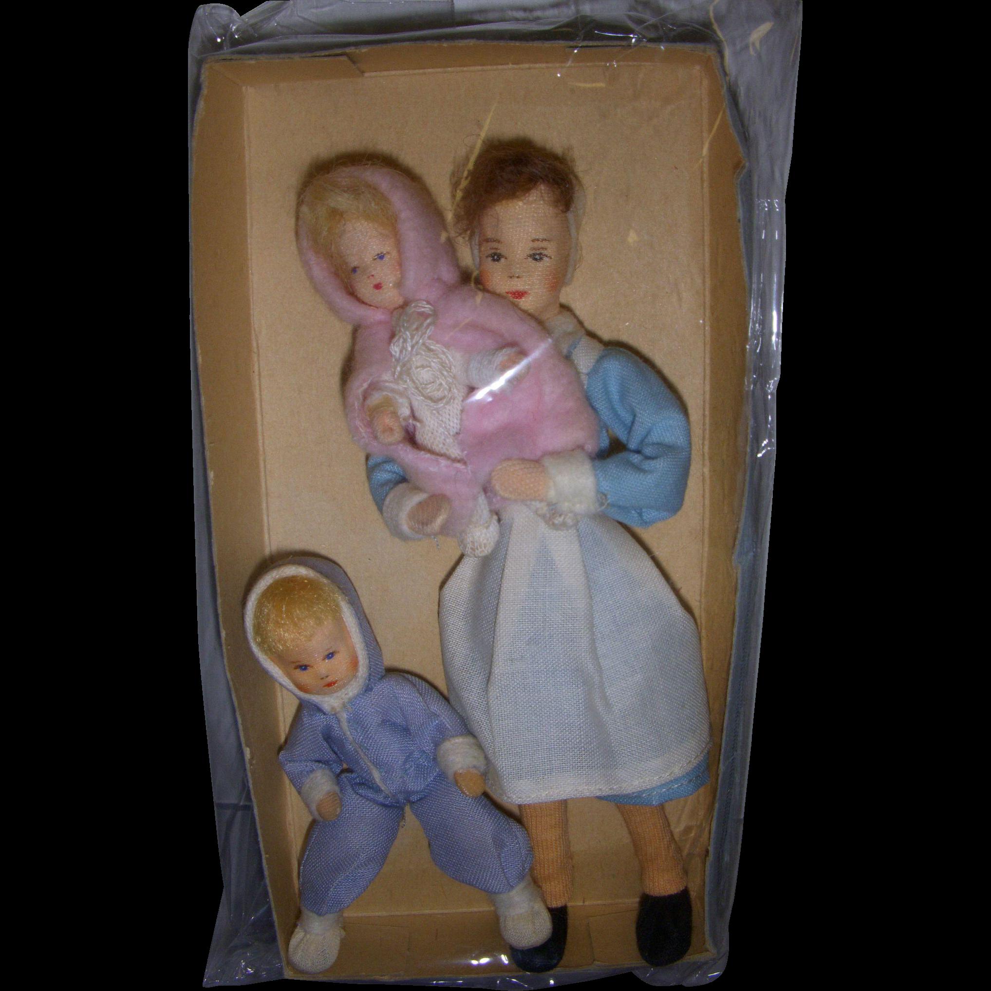 Vintage Trio of Erna Meyer German Nurse with Children Dollhouse Dolls!