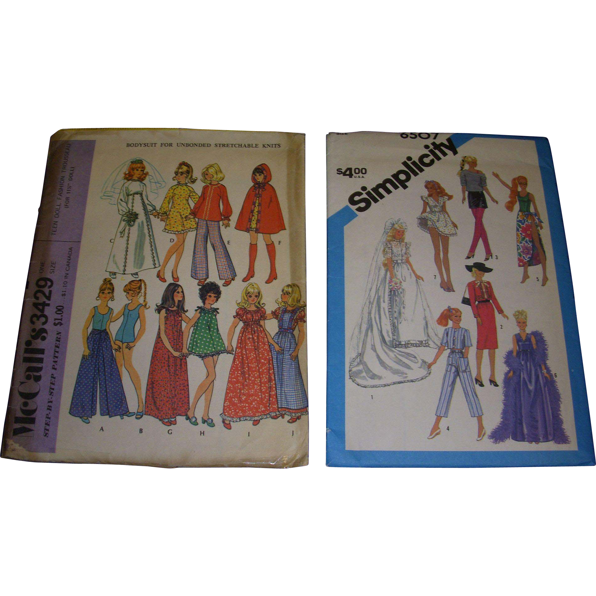 2 Vintage Doll Patterns for Barbie & Other Fashion Dolls