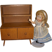 Vintage 1950s Hall's Wooden Doll Hutch