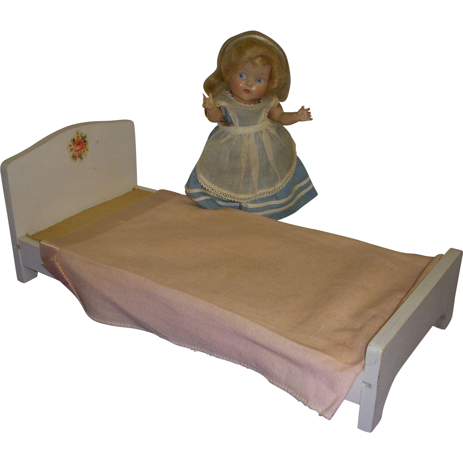 Vintage 1960s Hall's Wooden Doll Bed