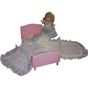 Vintage 1950s Vogue Ginny Doll Bed and Bedding