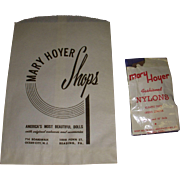 Vintage Rare 1950's Original Mary Hoyer Nylons MIP with Original Mary Hoyer Shop Bag