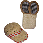 Vintage Mary Hoyer Tennis Rackets Hat and Straw Tote