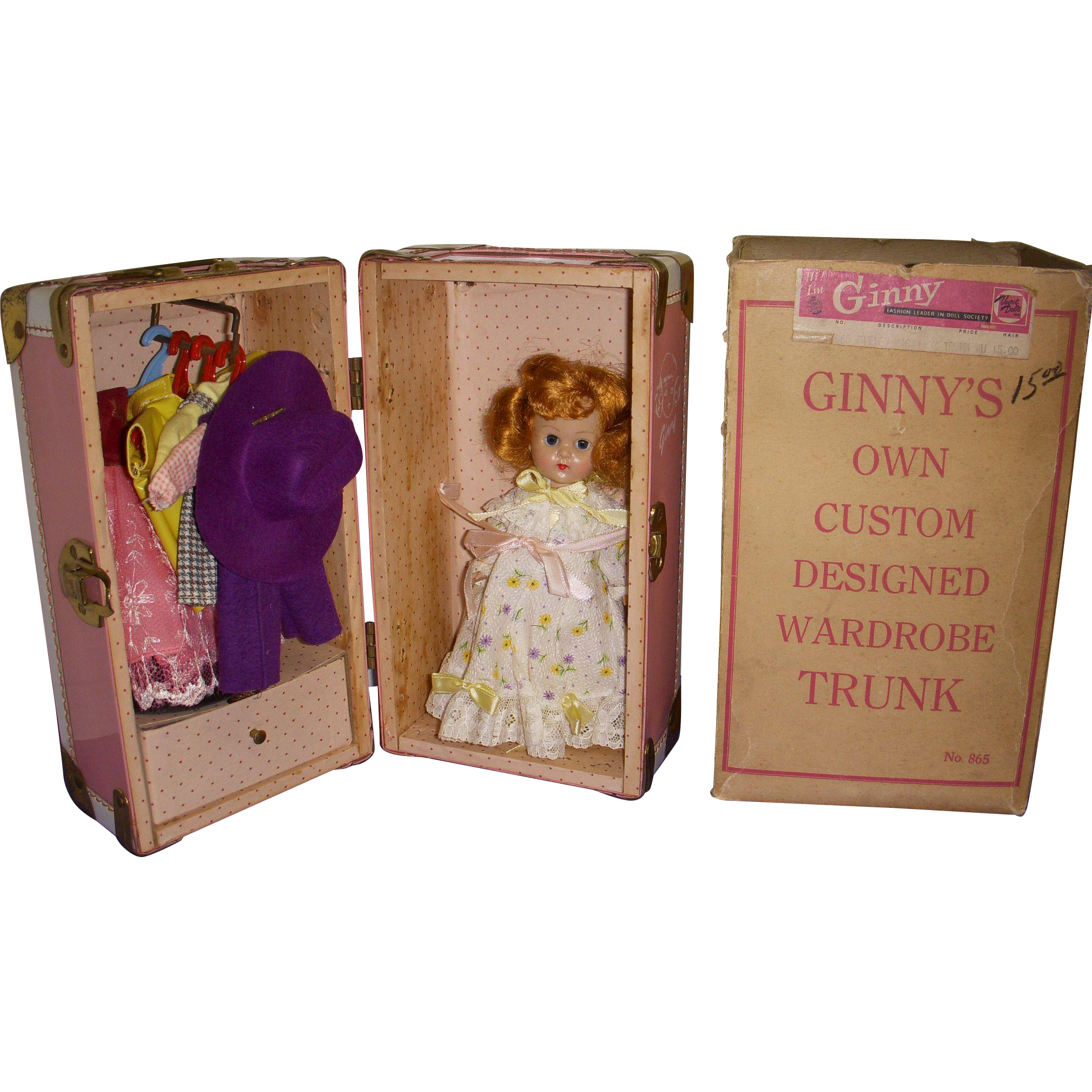 Vintage 1950s Vogue Ginny BKW Doll All Original with Trunk and Wardrobe
