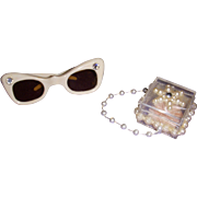 Vintage 1950s Alexander Cissy Fancy Sun Glasses and Purse